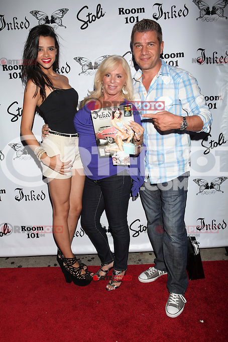 Samara Martins, Linda Torres and Tom Murro attend Inked Magazine release party celebrating August issue, New York. July 17, 2012 &copy; Diego Corredor/MediaPunch Inc. /NortePhoto.com<br />