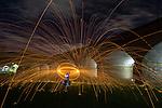 Steel wool spinning at Glebe park, Sydney, NSW, Australia.