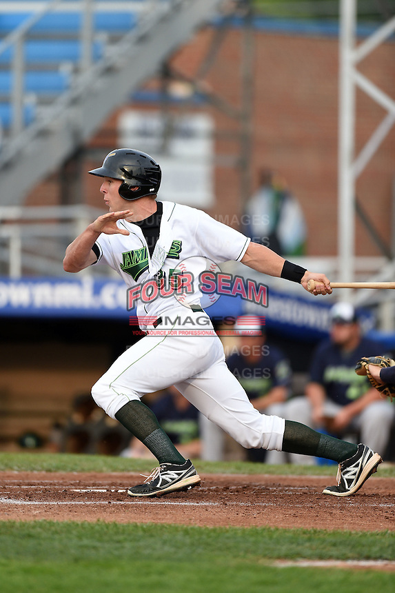 Jamestown Jammers outfielder Michael Suchy (35) at bat during a game against the Vermont Lake Monsters on July 12, 2014 at Russell Diethrick Park in Jamestown, New York.  Jamestown defeated Vermont 3-2.  (Mike Janes/Four Seam Images)