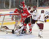 Mike Zalewski (RPI - 19) celebrates Bubela's tying goal. - The Boston College Eagles defeated the visiting Rensselaer Polytechnic Institute Engineers 7-2 on Sunday, October 13, 2013, at Kelley Rink in Conte Forum in Chestnut Hill, Massachusetts.