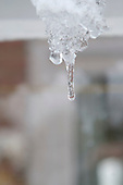 The three states of water.  Winter snow beginning to melt and change from snow to ice to water droplets.
