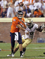 Sept. 3, 2011 - Charlottesville, Virginia - USA; Virginia Cavaliers quarterback Michael Rocco (16) throws the ball during an NCAA football game against William & Mary at Scott Stadium. Virginia won 40-3. (Credit Image: © Andrew Shurtleff