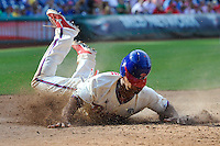 14 September 2014: Philadelphia Phillies center fielder Ben Revere (2) slides home for a run during the eighth inning against the Miami Marlins at Citizens Bank Park. The Marlins won 5-4.