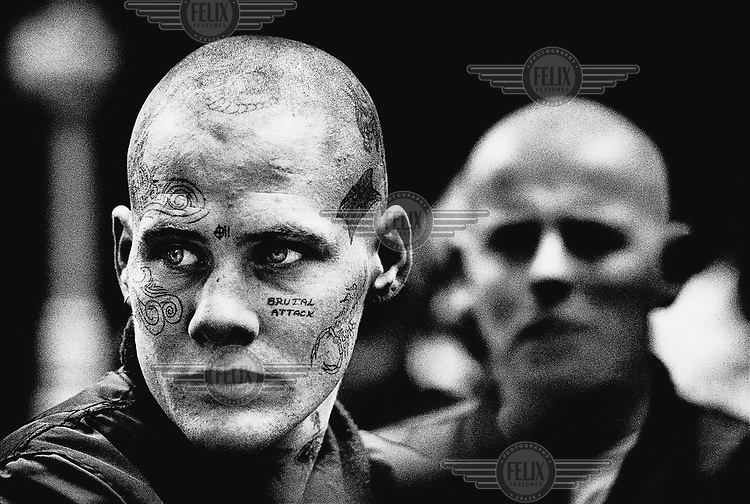 Skinheads at a rally of BNP (British National Party) supporters in London.