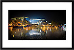 """Framed Photo of Husky Stadium on Lake Washington. Taken during historic last game before major stadium renovation. Available in frame sized of 24x36"""" or 12x24"""" Photo by Rob Sumner / Red Box Pictures."""