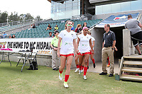 Cary, North Carolina  - Sunday May 21, 2017: Arin Gilliland, Samantha Johnson prior to a regular season National Women's Soccer League (NWSL) match between the North Carolina Courage and the Chicago Red Stars at Sahlen's Stadium at WakeMed Soccer Park. Chicago won the game 3-1.