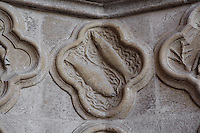 Pisces, detail of the signs of the Zodiac, Saint Firmin's portal, Amiens Cathedral, 13th century, Amiens, Somme, Picardie, France. Picture by Manuel Cohen