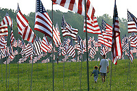 Ethan Hendrickson (left), 5, walks with his teacher Shane Grier among 2,996 flags placed at Kennesaw Mountain National Battlefield Park by the  Kiwanis Club of Marietta in remembrance of people who died in the terrorist attacks of five years ago.<br />
