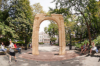 """A 25 foot tall facsimile of the Triumphal Arch of Palmyra on view in New York's City Hall Park is seen on Wednesday, September 21, 2016. The original, which stood for 2000 years in Palmyra, Syria, was destroyed by Isis in 2015. This reproduction, created by the Institute of Digital Archeology and UNESCO is made of Egyptian marble and is meant to encourage the public about the destruction of historic sites which are being destroyed in the name of """"cultural cleansing"""". The IDA used high resolution images taken by both archeologists and tourists in the reconstruction. (© Richard B. Levine)"""
