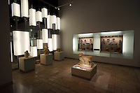 Gallery with archaeological sculptures and artifacts, Gran Museo del Mundo Maya museum in Merida, Yucatan, Mexico      . .