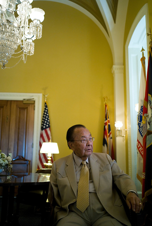 WASHINGTON, DC - April 27: Senate Appropriations Chairman Daniel K. Inouye, D-Hawaii, during an interview in his office. (Photo by Scott J. Ferrell/Congressional Quarterly)