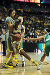 03 APR 2012: Kimetria Hayden (1) of Baylor University drives to the basket against Notre Dame during the Division I Women's Basketball Championship held at the Pepsi Center in Denver, CO. Stephen Nowland/NCAA Photos