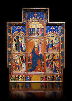 Gothic painted Panel Altarpiece of Saint Barbara by Goncal Peris Sarria. Tempera and gold leaf on wood. Date Circa 1410-1425. Dimesions 278 x 207.7 x 17 cm. At the beginning of the 20th century, the altarpiece was kept in the parish church of Puertomingalvo (Teruel), but it could originally have come from the chapel of Santa Bárbara near this town. This altarpiece is attributed to the painter Gonçal Peris Sarrià, one of the chief representatives of Valencian International Gothic. His style is marked by expressive and picturesque elements, the flowing line and the charm of the colour. The main compartment of the altarpiece represents the titular saint with her distinctive attributes –the tower, in allusion to her imprisonment, and the palm, as she is considered a martyr-- and above her the Calvary. On either side are depicted various episodes from the life of Saint Barbara, who was called on to keep away lightning and storms. . National Museum of Catalan Art, Barcelona, Spain, inv no: 035672-CJT
