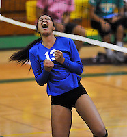 Western's Rockelle Gholson celebrates a point against Kennedy High on Wednesday.
