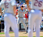 25 July 2012: Washington Nationals pitcher Sean Burnett takes warmup tosses during a game against the New York Mets at Citi Field in Flushing, NY. The Nationals defeated the Mets 5-2 to sweep their 3-game series. Mandatory Credit: Ed Wolfstein Photo