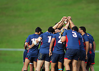 The Hastings team huddles before the Hurricanes 1st XV Secondary Schools rugby match between Scots College and Hastings Boys' High School at Porirua Park, Porirua, Wellington, New Zealand on Friday, 17 May 2013. Photo: Dave Lintott / lintottphoto.co.nz