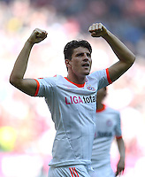 FUSSBALL   1. BUNDESLIGA  SAISON 2011/2012   33. Spieltag FC Bayern Muenchen - VfB Stuttgart       28.04.2012 Jubel nach dem Tor zum 1:0, Mario Gomez (FC Bayern Muenchen)
