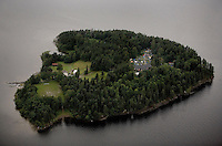 Aerial photo of Ut&oslash;ya (Utoya) shortly after July 22 massacre. Police has just apprehended Anders Behring Breivik.<br />