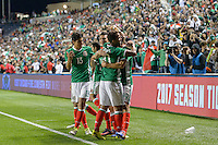 Bridgeview, IL, USA - Tuesday, October 11, 2016: Mexico celebrates a Mexico forward Oribe Peralta (19) goal during an international friendly soccer match between Mexico and Panama at Toyota Park. Mexico won 1-0.