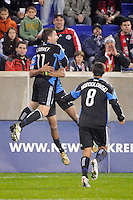 Bobby Convey (11) of the San Jose Earthquakes celebrates scoring with teammates during the 2nd leg of the Major League Soccer (MLS) Eastern Conference Semifinals against the New York Red Bulls at Red Bull Arena in Harrison, NJ, on November 04, 2010.