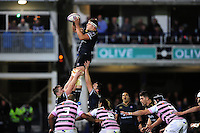 Tom Ellis of Bath Rugby wins the ball at a lineout. European Rugby Challenge Cup match, between Bath Rugby and Cardiff Blues on December 15, 2016 at the Recreation Ground in Bath, England. Photo by: Patrick Khachfe / Onside Images