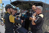 9-10 July, 2016 Newton, Iowa USA<br /> James Hinchcliffe (#5) talks to engineer Allen McDonald.<br /> &copy;2016, F. Peirce Williams
