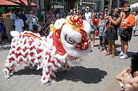 The Ane Thanh Lion Dance troupe performs at the Third Street Promenade during the Asian Cultural Fair on Saturday, August 27, 2011.The fair was hosted by Singapore Airlines in celebration of the new Airbus A380.