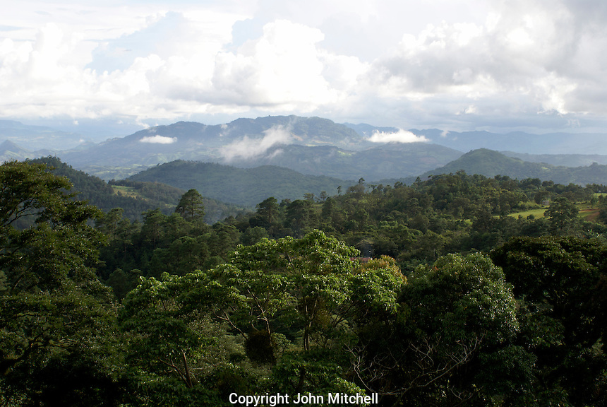 Forested mountains in the coffee growing region near Matagalpa, Nicaragua