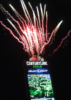November, 2013: CenturyLink Field, Seattle, Washington:  Opening fireworks as the Portland Timbers take on the Seattle Sounders FC in the Major League Soccer Playoffs semifinals Round. Portland won the first match 2-1.
