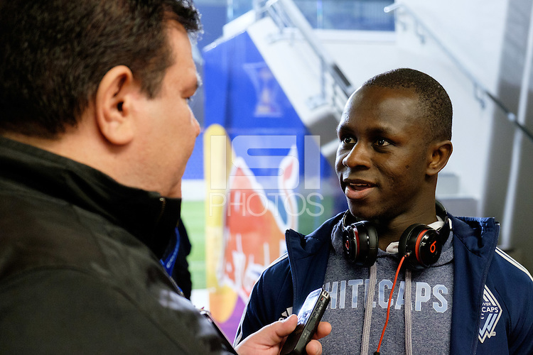 Harrison, NJ - Wednesday Feb. 22, 2017: Kekuta Manneh after a Scotiabank CONCACAF Champions League quarterfinal match between the New York Red Bulls and the Vancouver Whitecaps FC at Red Bull Arena.