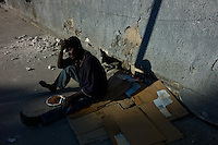 Port Au Prince, Haiti, Jan 21 2010.One of thousands IDP's living in the streets of Port au Prince.