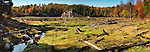 Panoramic fall nature scenery of a drained beaver pond after a beaver dam was removed by people. Killarney Provincial Park, Ontario, Canada.