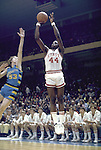 25 MAR 1974:  North Carolina State's David Thompson (44) and Marquette forward Rick Campbell (53) during the NCAA Men's National Basketball Final Four championship game held in Greensboro, NC, at the Greensboro Coliseum. North Carolina St. defeated Marquette 76-64 for the title. Photo Copyright Rich Clarkson/NCAA Photos.SI CD 0334-07