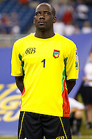 Guadeloupe goalkeeper Franck Grandel (23) before the CONCACAF soccer match between Panama and Guadeloupe at Ford Field Detroit, Michigan.