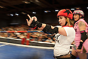 Crybaby of the Putas del Fuego, a TXRD team in Austin, Texas, expresses her views during their bout against the Hellcats at Palmer Events Center in Austin, Texas.