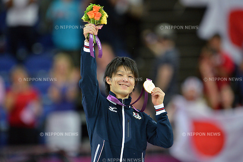 Kohei Uchimura (JPN), .AUGUST 1, 2012 - Artistic Gymnastics : Men's Individual All-Around Medal Ceremony at North Greenwich Arena during the London 2012 Olympic Games in London, UK. .(Photo by Jun Tsukida/AFLO SPORT) [0003].