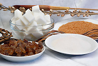 Diversi tipi di zuccheri. Zucchero bianco, zucchero di canna, cristalli di zucchero, zollette..Different type of sugar. White sugar, cane sugar, crystal sugar,  lumps..                                .
