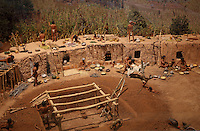 Model depicting the Developmental Pueblo Period, 750-1100 AD, when the pueblo or village architecture developed, pottery-making flourished, new farming techniques emerged and trade became significant, in the Chapin Mesa Archeological Museum, in Mesa Verde National Park, Montezuma County, Colorado, USA. The village shown is from 850 AD and shows Puebloan Indians in a series of connected living and storage rooms, facing South or South West. The pit room in front of the dwellings was used for living or ceremonial purposes. Mesa Verde is the largest archaeological site in America, with Native Americans inhabiting the area from 7500 BC to 13th century AD. It is listed as a UNESCO World Heritage Site. Picture by Manuel Cohen