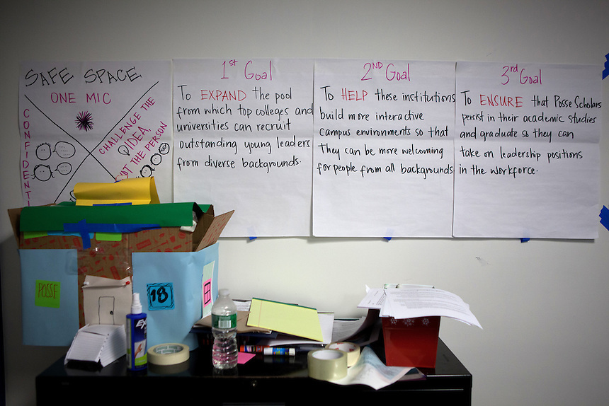 Goals posted on the wall of the Posse Foundation in New York, NY on April 01, 2014.Students in the Posse Foundation are chosen as scholars and go through college prep together as seniors in high school then attend the same college campus together where they get ongoing support. The Posse Foundation has identified, recruited and trained 5,544 public high school students with extraordinary academic and leadership potential to become Posse Scholars over the past 25 years.