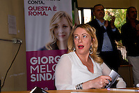 ROME, ITALY – May 10: The candidate for mayor of Rome Giorgia Meloni (Brothers of Italy – National Alliance), meets the civic committees citizens to Torpignattara district, on May 10, 2016 in Rome, Italy.