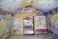 "Underground Etruscan tomb Known as ""Tomba della Caccia e della Pesca"". A double chamber with double sloping ceiling. In the tsecond chamber can be see a scene of hunting and fishing in the style of the ""little Ionic masters"" . 520-510 BC. Excavated 1873 , Etruscan Necropolis of Monterozzi, Monte del Calvario, Tarquinia, Italy. A UNESCO World Heritage Site."