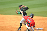 Ole Miss' Miles Hamblin (24) is forced at second by Wright State's Sam Picchiotti (11) at Oxford University Stadium in Oxford, Miss. on Sunday, February 20, 2011. Ole Miss won 6-5 to improve to 3-0 on the season.