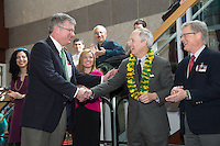 William Jeffries, Ph.D., left, UVM President Thomas Sullivan, Dean Rick Morin, M.D. Match Day, class of 2013.