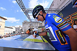 Race leader Nairo Quintana (COL) Movistar Team Maglia Azzura wearer at sign on before the start of Stage 6 of the 2017 Tirreno Adriatico running 168km from Ascoli Piceno to Civitanova Marche, Italy. 13th March 2017.<br /> Picture: La Presse/Gian Mattia D'Alberto | Cyclefile<br /> <br /> <br /> All photos usage must carry mandatory copyright credit (&copy; Cyclefile | La Presse)