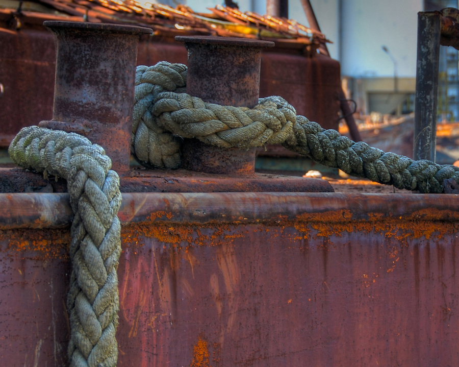 Rope on rusted boat, in La Boca in Buenos Aires