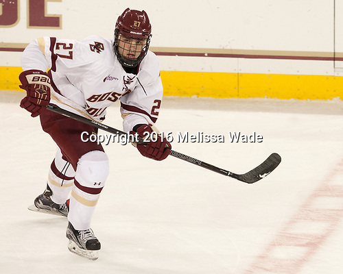 Graham McPhee (BC - 27) - The Boston College Eagles defeated the visiting Providence College Friars 3-1 on Friday, October 28, 2016, at Kelley Rink in Conte Forum in Chestnut Hill, Massachusetts.The Boston College Eagles defeated the visiting Providence College Friars 3-1 on Friday, October 28, 2016, at Kelley Rink in Conte Forum in Chestnut Hill, Massachusetts.