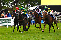 Winner of The British Stallion Studs EBF Fillies' Handicap, White Chocolate green\yellow cap ridden by Daniel Muscott and trained by David Simcock during Afternoon Racing at Salisbury Racecourse on 18th May 2017