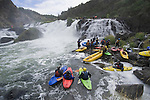 A group of kayakers gather to watch the action during the 1pit river release august 19, 2007.