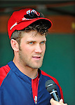 9 June 2012: Washington Nationals outfielder Bryce Harper gives an interview prior to a game against the Boston Red Sox at Fenway Park in Boston, MA. The Nationals defeated the Red Sox 4-2 in the second game of their 3-game series. Mandatory Credit: Ed Wolfstein Photo