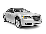 Silver 2013 Chrysler luxury family car isolated on white background with clipping path